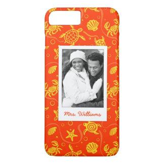 Funda Para iPhone 8 Plus/7 Plus Añada su modelo anaranjado de la playa de la foto