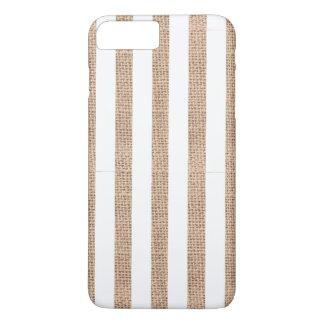 Funda Para iPhone 8 Plus/7 Plus Arpillera rústica y caja blanca del teléfono de la