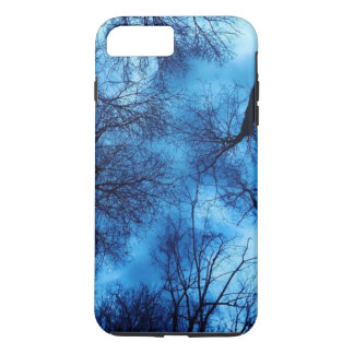 Funda Para iPhone 8 Plus/7 Plus Azul en árboles negros - caso de Iphone