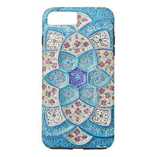 Funda Para iPhone 8 Plus/7 Plus Azules turquesas marroquíes tradicionales, blanco,