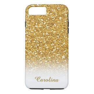 Funda Para iPhone 8 Plus/7 Plus Blanco y brillo del oro, personalizado con nombre