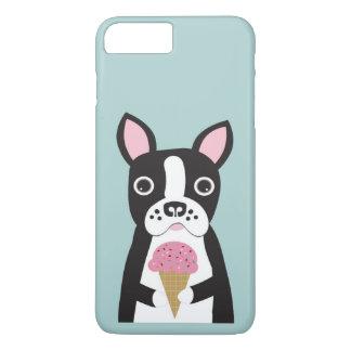 Funda Para iPhone 8 Plus/7 Plus Boston Terrier y helado