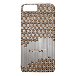 Funda Para iPhone 8 Plus/7 Plus Brown metálico y monograma de aluminio cepillado