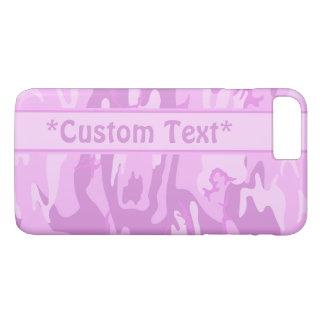 Funda Para iPhone 8 Plus/7 Plus Camo rosado con el texto de encargo