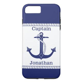 Funda Para iPhone 8 Plus/7 Plus Capitán náutico Blue Anchor Personalized