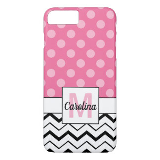 Funda Para iPhone 8 Plus/7 Plus Chevron negro y lunares rosados, nombre y