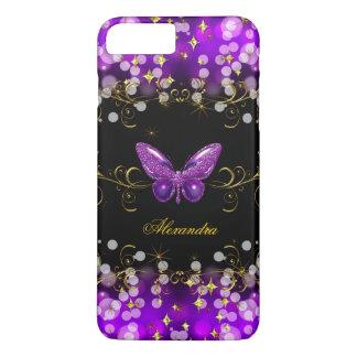 Funda Para iPhone 8 Plus/7 Plus Chispas púrpuras exóticas de la mariposa del negro