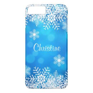 Funda Para iPhone 8 Plus/7 Plus Copos de nieve blancos elegantes del navidad azul