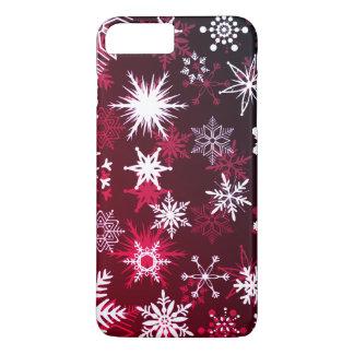 Funda Para iPhone 8 Plus/7 Plus Copos de nieve de la pendiente de Borgoña del