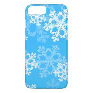 Funda Para iPhone 8 Plus/7 Plus Copos de nieve lindos del navidad azul y blanco