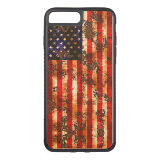 Funda Para iPhone 8 Plus/7 Plus De Carved Bandera vertical americana oxidada resistida