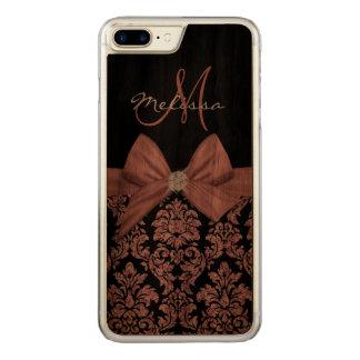 Funda Para iPhone 8 Plus/7 Plus De Carved Damasco color de rosa del negro del purpurina del