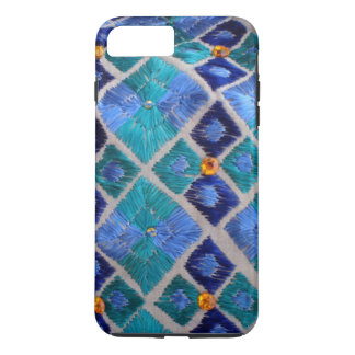 Funda Para iPhone 8 Plus/7 Plus El azul bordó la caja única del iphone de Phulkari