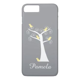 Funda Para iPhone 8 Plus/7 Plus El gris blanco del árbol de cinco pájaros