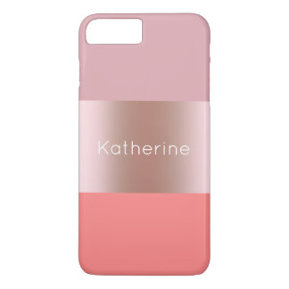 Funda Para iPhone 8 Plus/7 Plus El polluelo moderno elegante subió el coral rosado