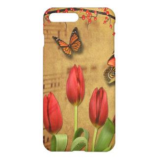 Funda Para iPhone 8 Plus/7 Plus El tulipán del vintage florece notas de la música
