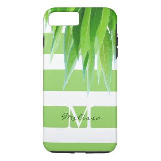 Funda Para iPhone 8 Plus/7 Plus El verde elegante raya el monograma con las hojas