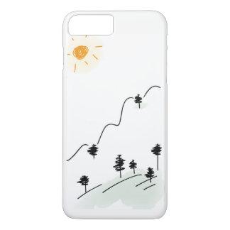 Funda Para iPhone 8 Plus/7 Plus Escena dibujada creyón de la montaña en la caja