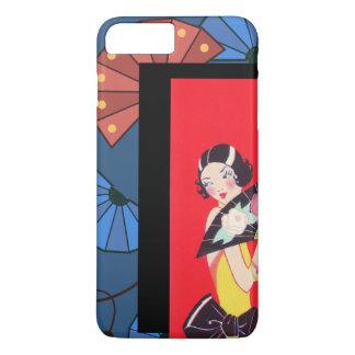 Funda Para iPhone 8 Plus/7 Plus Fans japonesas y azul rojo del oro del chica