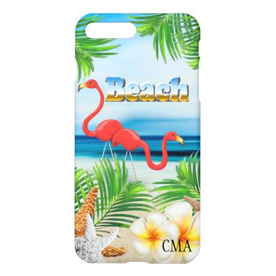 Funda Para iPhone 8 Plus/7 Plus Flamencos rosados en el monograma de la playa el |