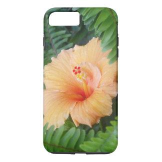 Funda Para iPhone 8 Plus/7 Plus Flor anaranjada del hibisco con los helechos