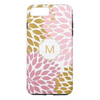 Funda Para iPhone 8 Plus/7 Plus Floraciones florales de la dalia rosada del oro
