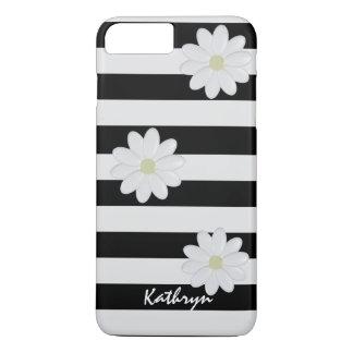 Funda Para iPhone 8 Plus/7 Plus Flores blancas conocidas de encargo rayadas