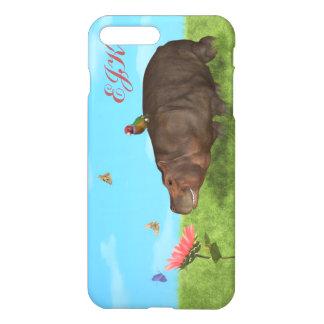 Funda Para iPhone 8 Plus/7 Plus Hipopótamo feliz, flor, mariposas, monograma