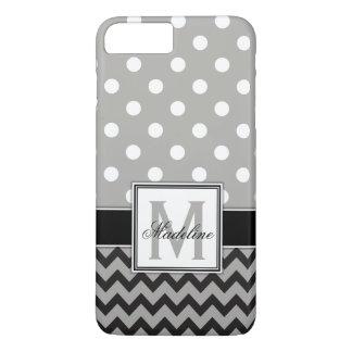 Funda Para iPhone 8 Plus/7 Plus Lunares y móvil grises, negros y blancos de