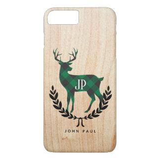 Funda Para iPhone 8 Plus/7 Plus Macho verde del monograma de la tela escocesa del