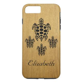 Funda Para iPhone 8 Plus/7 Plus Madera tribal de encargo de la tortuga de mar