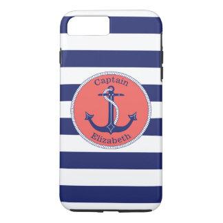 Funda Para iPhone 8 Plus/7 Plus Marina de guerra náutica y coral del ancla