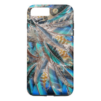 Funda Para iPhone 8 Plus/7 Plus Modelo de la moda con las plumas azules. Diseño de
