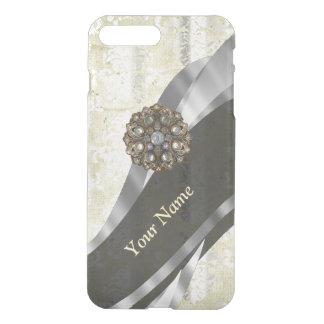 Funda Para iPhone 8 Plus/7 Plus Modelo de plata y blanco personalizado del damasco