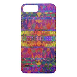 Funda Para iPhone 8 Plus/7 Plus Modelo tribal bohemio púrpura y anaranjado