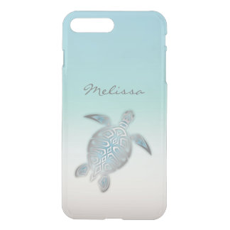 Funda Para iPhone 8 Plus/7 Plus Monograma claro de plata costal de la tortuga de