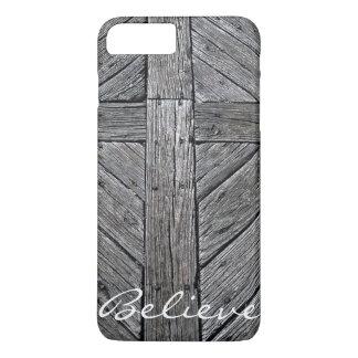 Funda Para iPhone 8 Plus/7 Plus Monograma de madera rústico cruzado cristiano