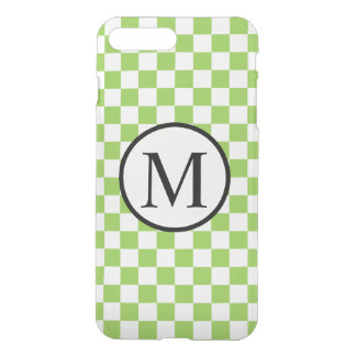 Funda Para iPhone 8 Plus/7 Plus Monograma simple con el tablero de damas del verde