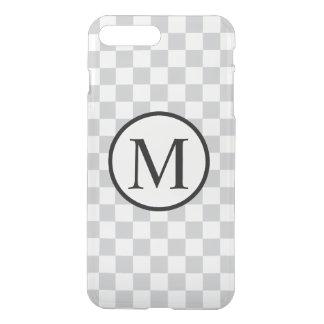 Funda Para iPhone 8 Plus/7 Plus Monograma simple con el tablero de damas gris