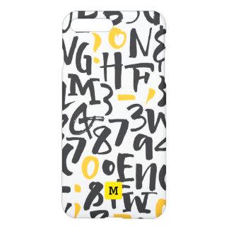 Funda Para iPhone 8 Plus/7 Plus Monograma. Tipografía negra y amarilla moderna