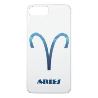 Funda Para iPhone 8 Plus/7 Plus Muestra azul del zodiaco del aries en blanco