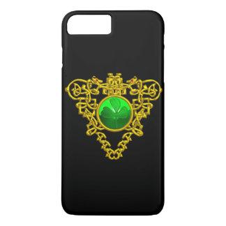 Funda Para iPhone 8 Plus/7 Plus Negro CÉLTICO del oro del TRÉBOL del CORAZÓN de