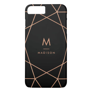 Funda Para iPhone 8 Plus/7 Plus Negro con el modelo geométrico del falso oro color
