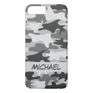 Funda Para iPhone 8 Plus/7 Plus Nombre personalizado camuflaje de plata gris de