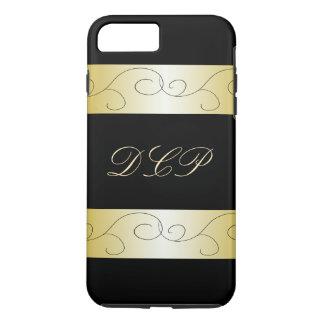 Funda Para iPhone 8 Plus/7 Plus Oro negro adornado con monograma CricketDiane de