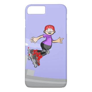 Funda Para iPhone 8 Plus/7 Plus Patín sobre ruedas niño de gorra roja saltando