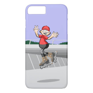 Funda Para iPhone 8 Plus/7 Plus Patín sobre ruedas niño feliz dando tres saltos