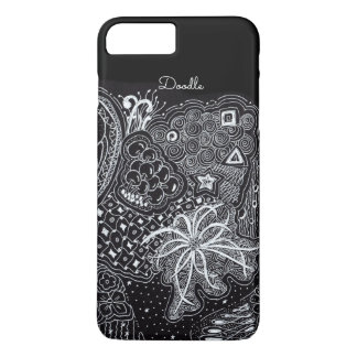 Funda Para iPhone 8 Plus/7 Plus Personalice: Tinta blanca en arte negro del Doodle