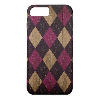 Funda Para iPhone 8 Plus/7 Plus Púrpura de madera del ciruelo del modelo de Argyle