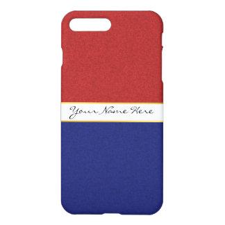 Funda Para iPhone 8 Plus/7 Plus Rayas rojas, blancas y azules personalizadas